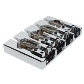 Hipshot A-Style FM1 4-String 5-Hole Brass Retrofit Fender Bass Bridge - CHROME