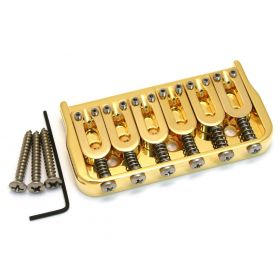 "Hipshot 41065G 6-String Hardtail Fixed Electric Guitar Bridge .175"" - GOLD"