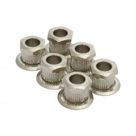 "(6) Kluson Hex Head Conversion Bushings for 1/4"" Tuning Posts - Nickel"