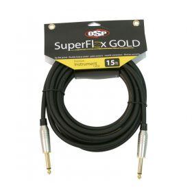 Elite Core SuperFlex Gold 15' ft Premium Guitar/Instrument Cable - SFI-15SS