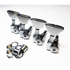 Sperzel 4-In-Line Trimlok Locking BASS Tuning Machine Pegs - CHROME PLATED