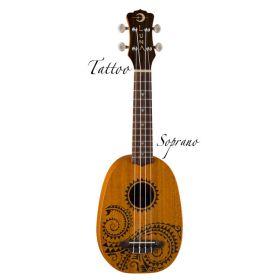 Luna Tattoo Soprano Pineapple Ukuele Uke with Gig Bag