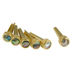 D'Andrea TP2A Acoustic Guitar Bridge Tone Pins Gold Brass Set with Abalone
