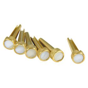 D'Andrea TP3M Acoustic Guitar Tone Pins Brass Bridge Pin Set w/ Mother of Pearl